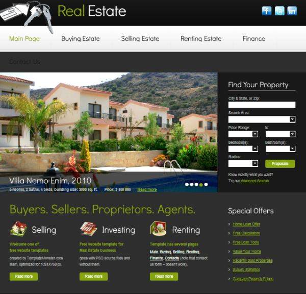 10+ FREE REAL ESTATE HTML WEB SITES TEMPLATES