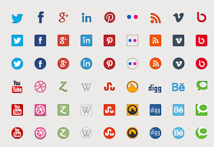 70 plus Vector and webfont Social Media icons for free