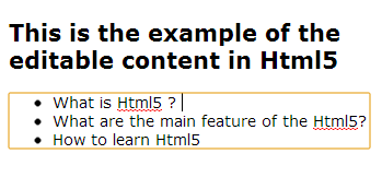 editable content in html5