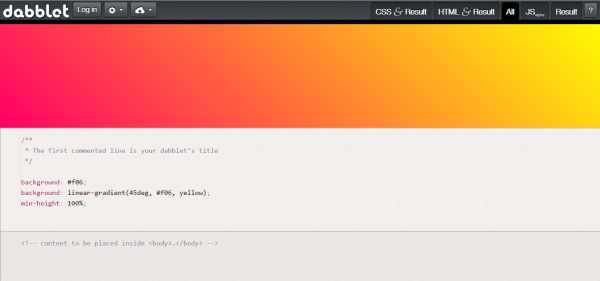 dabblet online html, javascript and css editor