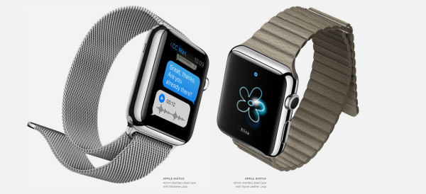 apple watch - 42mm Stainless Steel Case with Milanese Loop and Stone Leather Loop