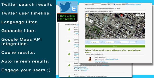 php twitter user timeline and search plugin inline preview