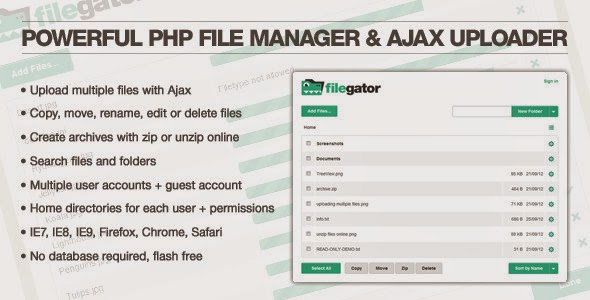 powerful php file manager and ajax uploader
