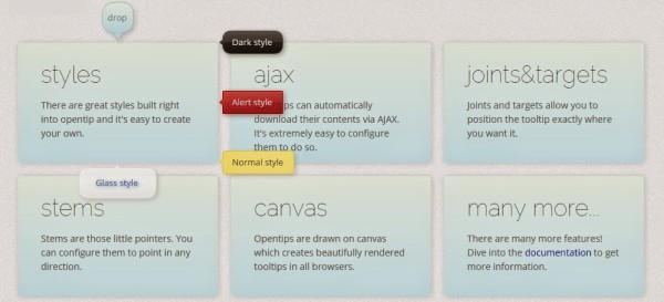 opentip jquery tooltip plugins