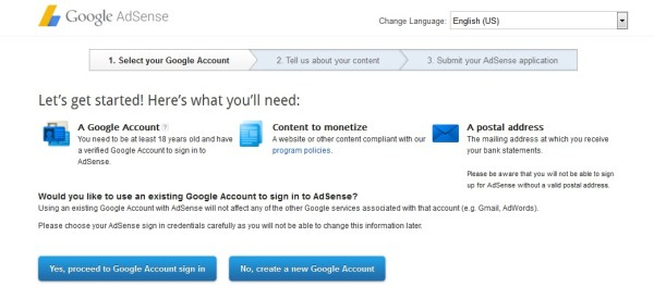 Sign Up for Google Adsense Step1