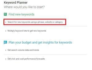 google adword keyword planner - find new keyword