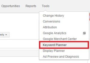 google adword keyword planner selection