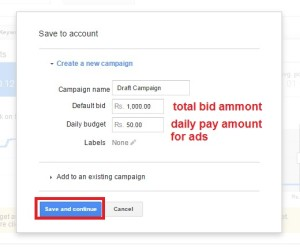 google adword keyword save to account