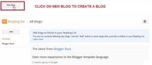 create a new blog on blogger dot com powered by google