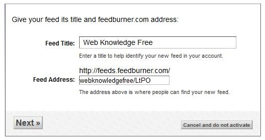 configure feedburner step 2