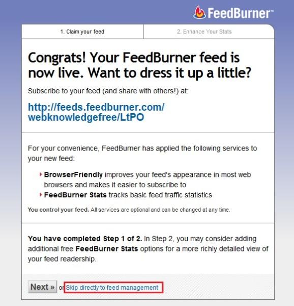final step of feedburner step 3