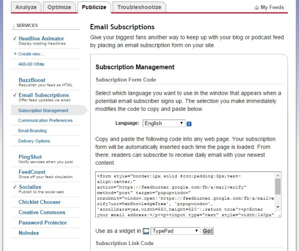 publicize screen of google feedburner