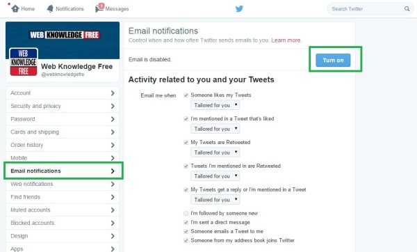 change email notification on twitter settings