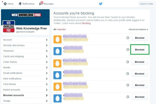 twitter settings for blocked account