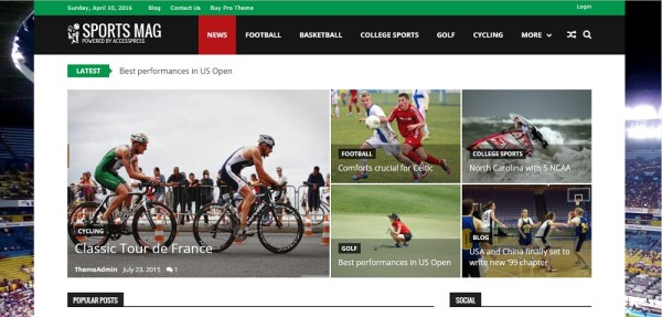 Sportsmag - free responsive wordpress theme for magazine and sports
