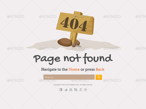 404 not found board type page design
