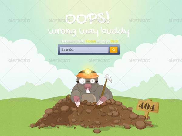 404 not found wrong way buddy page design
