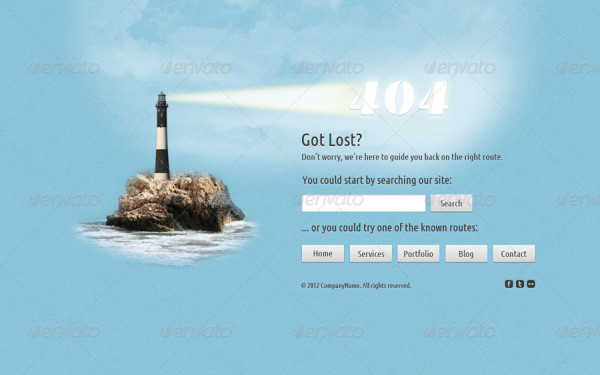 Lost at Sea 404 Error Page design