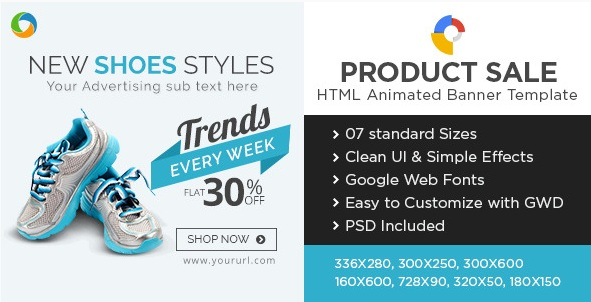 E-Commerce HTML5 Banners for new trend in shoes advertising