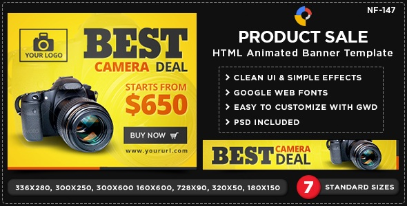 HTML5 E-Commerce Banners - for best camera deal