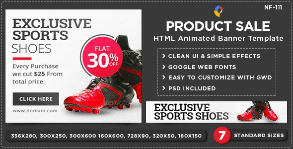 HTML5 E-Commerce Banners -for exclusive sport shoes
