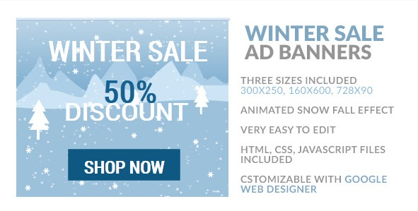 Winter Sale HTML5 Ad Banner to boost online sale